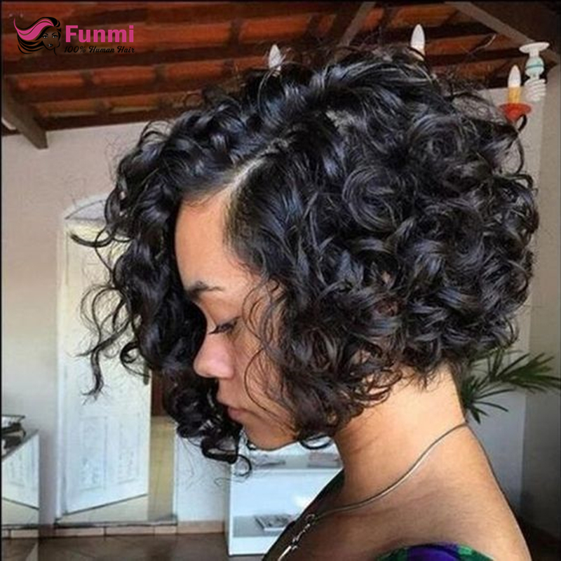 Funmi Hair Malaysian Deep Wave Bob Wigs Lace Front Human Hair Wigs Pre-Plucked With Baby Hair Remy Hair Wigs For Black Women