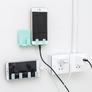 2020 Universal Phone Suction Wall Hook Charging Cable Wall Hanging Rack Hanger Mount Charge Cable Holder Home Power Socket Stand