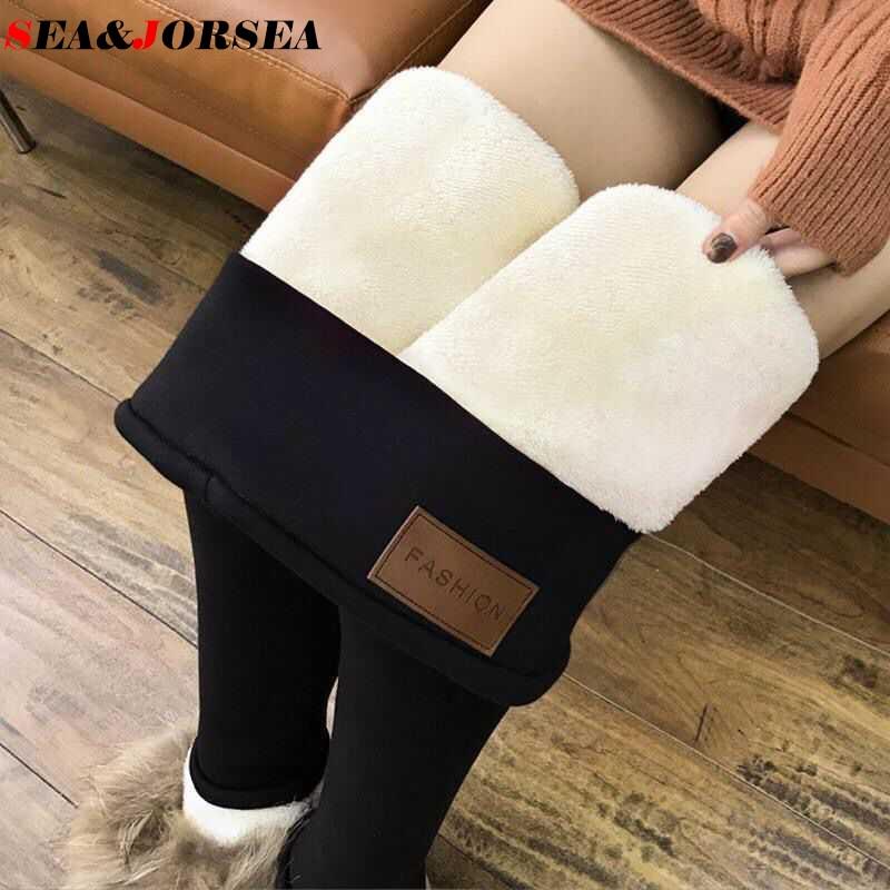 JORSEA Women Winter High Waisted Slimming Leggings Velvet Warm Pants Flannel Streetwear Trousers Ladies Winter Casual Pants 6XL