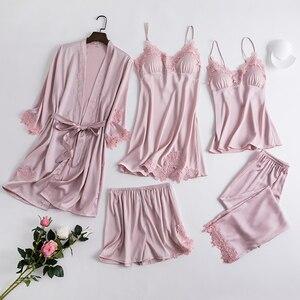 Image 2 - 5 pièces Robe ensemble pyjama pour femmes ensembles chemise de nuit 2020 nouveau vêtement de nuit Kimono Robe Robe intime Lingerie dentelle chemise de nuit peignoir