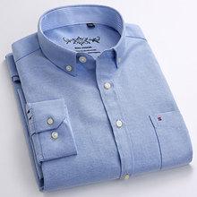 Camisas casuales de moda para hombre, camisa de vestir Oxford de manga larga con cuello abotonado y ajuste Regular de Color sólido de buena calidad