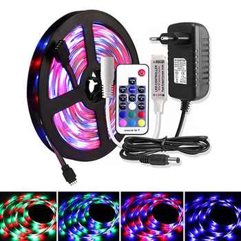 5M 2835 RGB LED Strip Set DC 12V Waterproof WiFi 60 LEDs/m Tira Ribbon Led Light Diode Tape RF / Music Controller +Power Adapter - DISCOUNT ITEM  35% OFF All Category