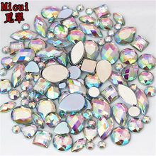 22g About 300pcs Mixed Shape Sizes Acrylic Rhinestones 3D Nail Art Crystal Stones Non Hotfix Flatback Craft DIY Decorations MC38