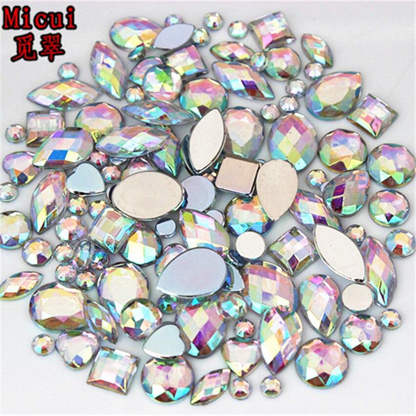 24g About 300pcs Mixed Shape Sizes Acrylic Rhinestones 3D Nail Art Crystal Stones Non Hotfix Flatback Craft DIY Decorations MC38