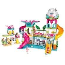 Ilumine o bloco de construção meninas sol parque de água 6 figuras 828 peças tijolos educacionais brinquedo para o presente da menina