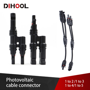 Solar Branch Connector T/Y type Solar Cable connector 2/3/4/5 Ways Wire Connectors for Photovoltaic System Panel Module connect 20 pair of mc4 y branch 3m1f 3f1m solar pv connector parallel for 3 solar panels