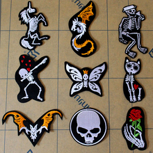 Pulaqi Stripe Rock Patch Band Iron On Patches Clothing DIY Embroidered for Clothes Punk Badges For Sticker