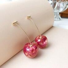 Long-Drop-Earrings Jewelry Gifts Fruit-Ear Dangle Cherry Resin Women Charming-Pendant