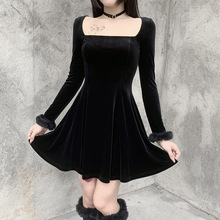 Gothic Ladies Dresses Spring Autumn The New Fashion Hipster Simple Thin Best Sellers Draw Back Square Collar Long Sleeve