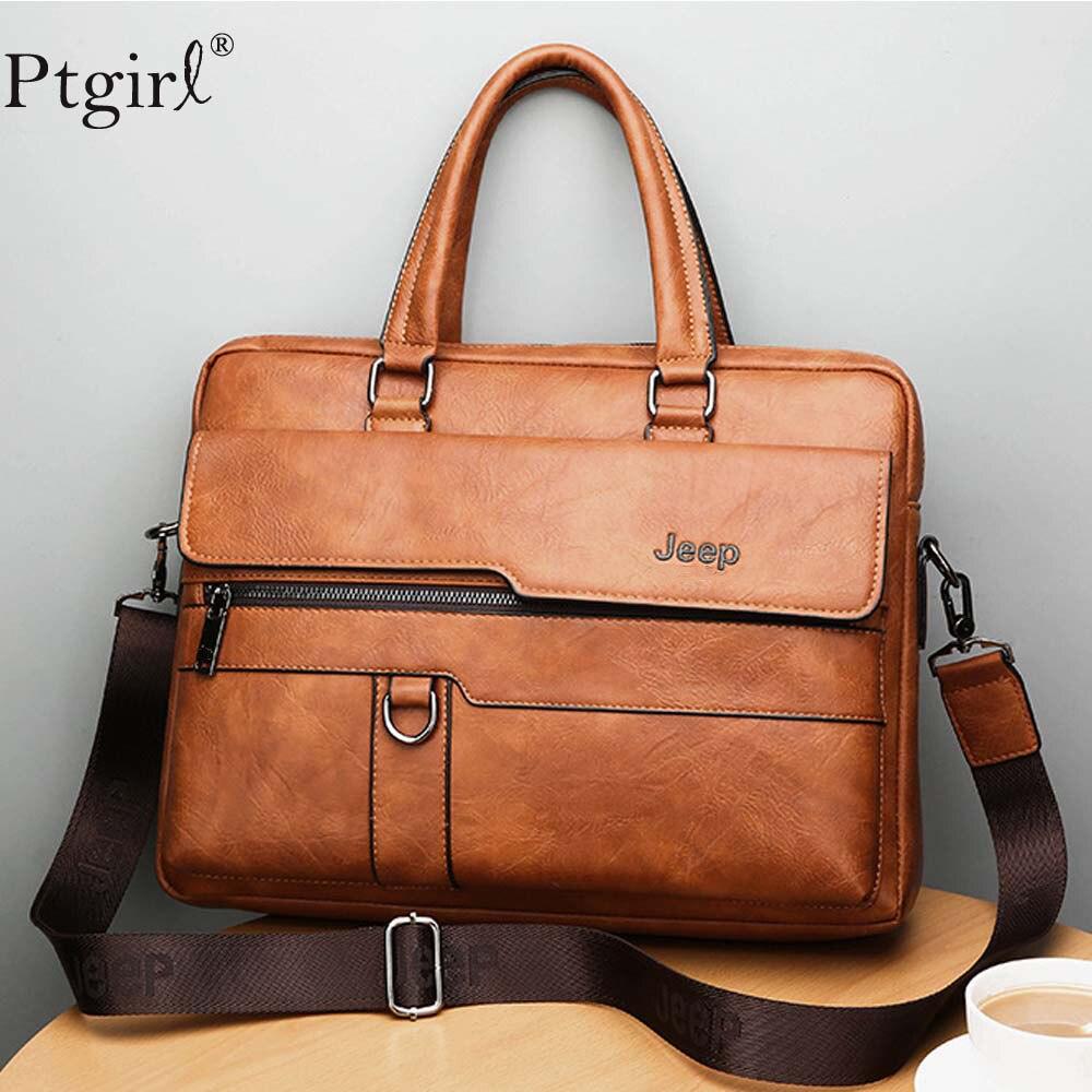 JEEP Men Briefcase Bag High Quality Business Famous Brand Leather Messenger Bag Ptgirl 13.3 Inch Laptop сумка-мессенджер мужская