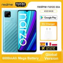Versão global realme narzo 30a smartphone 4gb 64gb helio g85 6.5 fullfullfullscreen 13mp ai câmera dupla 6000mah 18w carga rápida