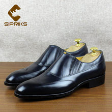 SIPRIKS italien fait à la main Goodyear Welt robe chaussures hommes formelle smoking en cuir semelle chaussures sans lacet Wingtip chaussures décontractées hommes costume(China)