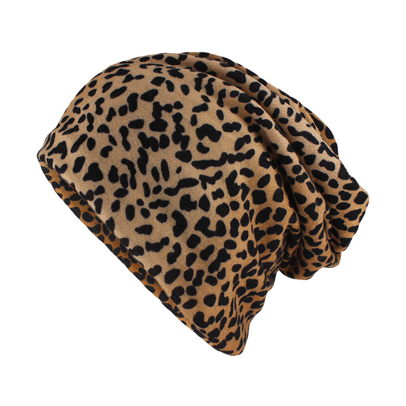 Miaoxi Top Fashion Women Hat Striped Female Beanies Skullies Casual Polyester Leopard Scarf Cap Two Used Autumn Spring Warm Hats