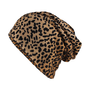 miaoxi Top Fashion Women Hat Striped Female Beanies Skullies Casual Polyester Leopard Scarf Cap Two Used Autumn Spring Warm Hats - discount item  35% OFF Hats & Caps