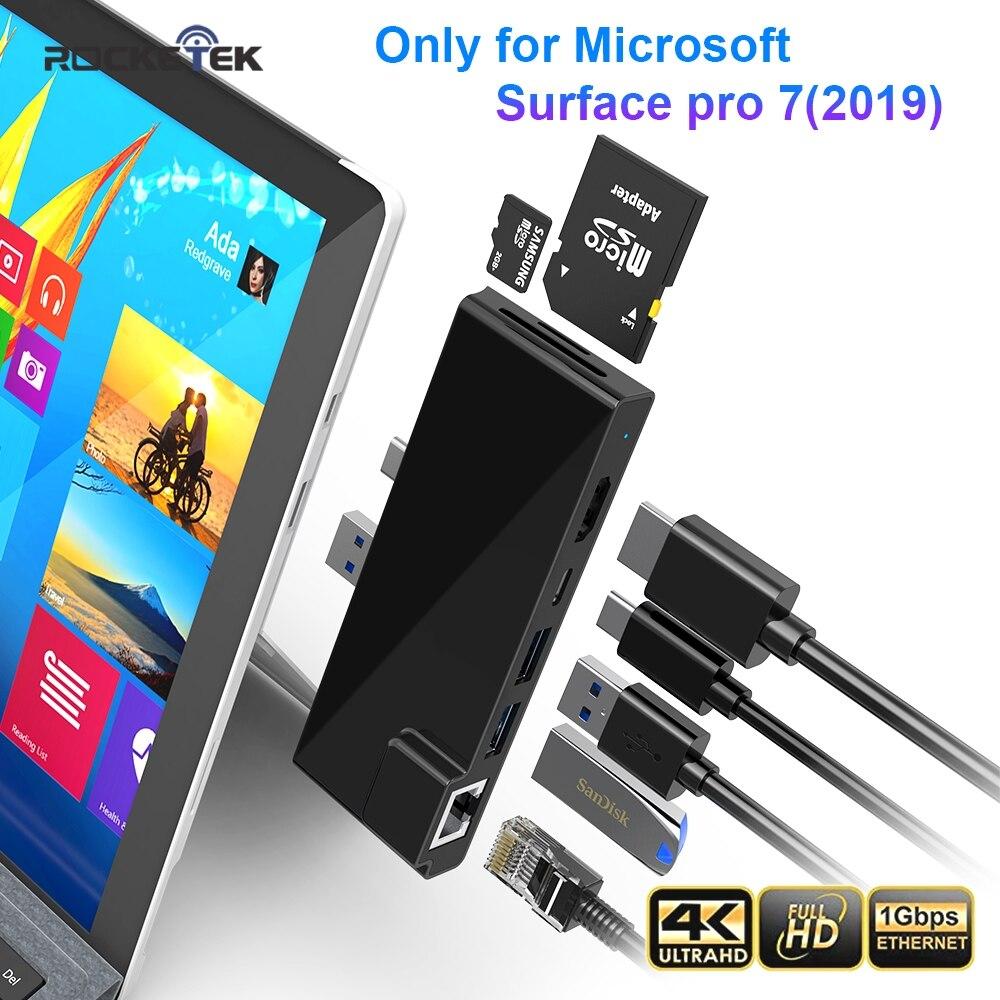Rocketek Usb 3.0 HUB Card Reader 4K HDMI 1000Mbps Gigabit Ethernet PD Type C Adapter For SD/TF Micro SD Microsoft Surface Pro 7