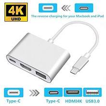 "Thunderbolt 3 מתאם USB סוג C רכזת כדי HDMI 4K תמיכה סמסונג דקס מצב USB C Doce עם פ""ד עבור macBook Pro/אוויר 2019"