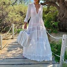 Chiffon Lace Patchwork Long Beach Cover up Transparent Summer Beach Dress Pareo Beach Robe de Plage Bikini Cover up Sarong