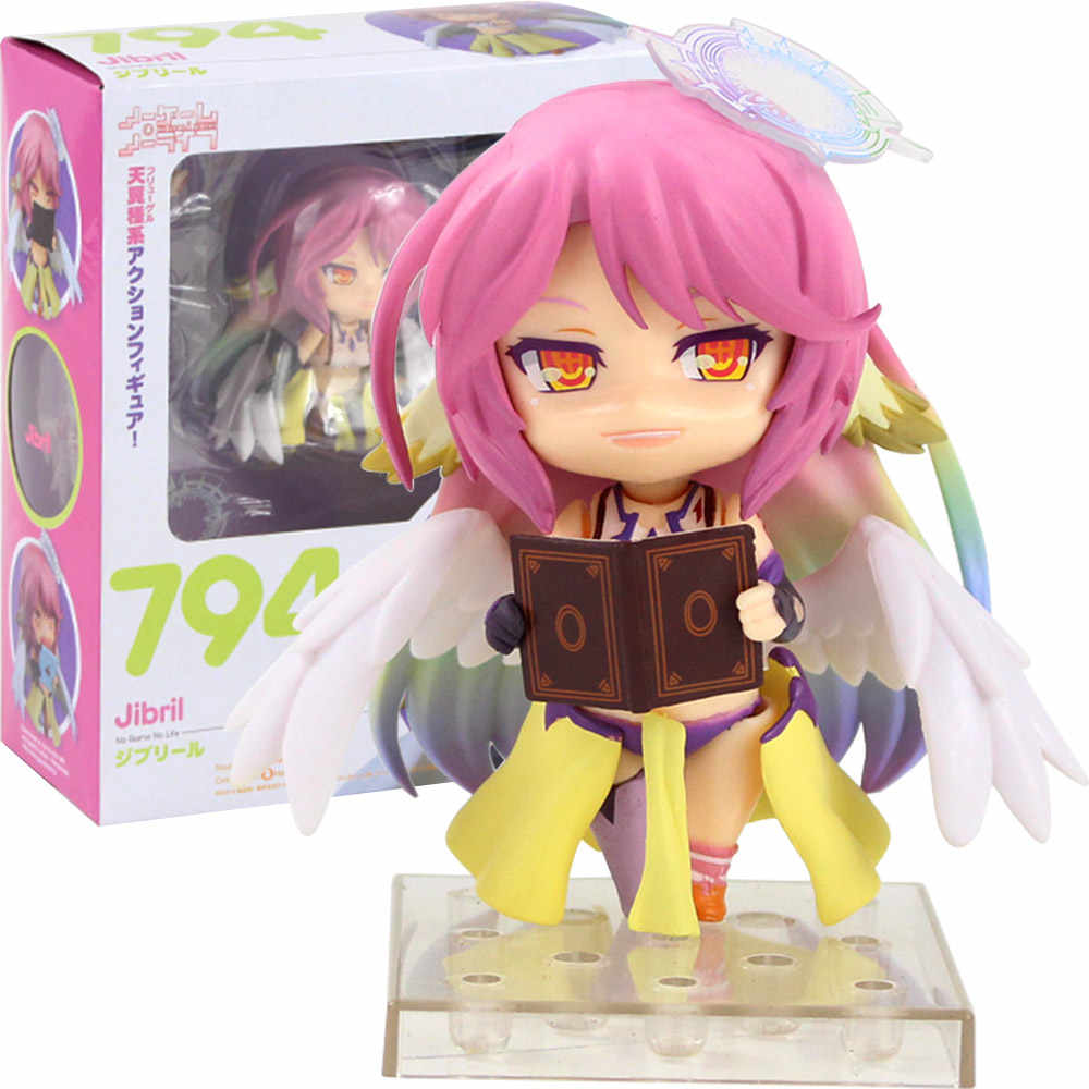 Anime Nendoroid 794 # Shiro Jibril estatueta Jogo Sem Vida SoraPVC Action Figure Collectible Modelo Brinquedos