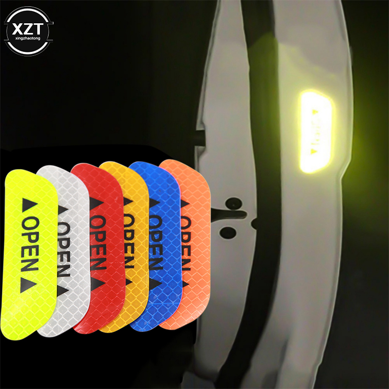 4Pcs/set Car Door Stickers Universal Safety Warning Mark OPEN High Reflective Tape Auto Exterior Motorcycle Bike Helmet Sticker