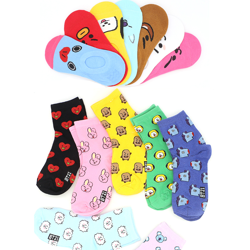 Summer Women's Short Socks Funny Candy Color Cotton TATA COOKY CHIMMY SHOOKY MANG KOYA RJ Korea Funny Cartoon Invisible Socks