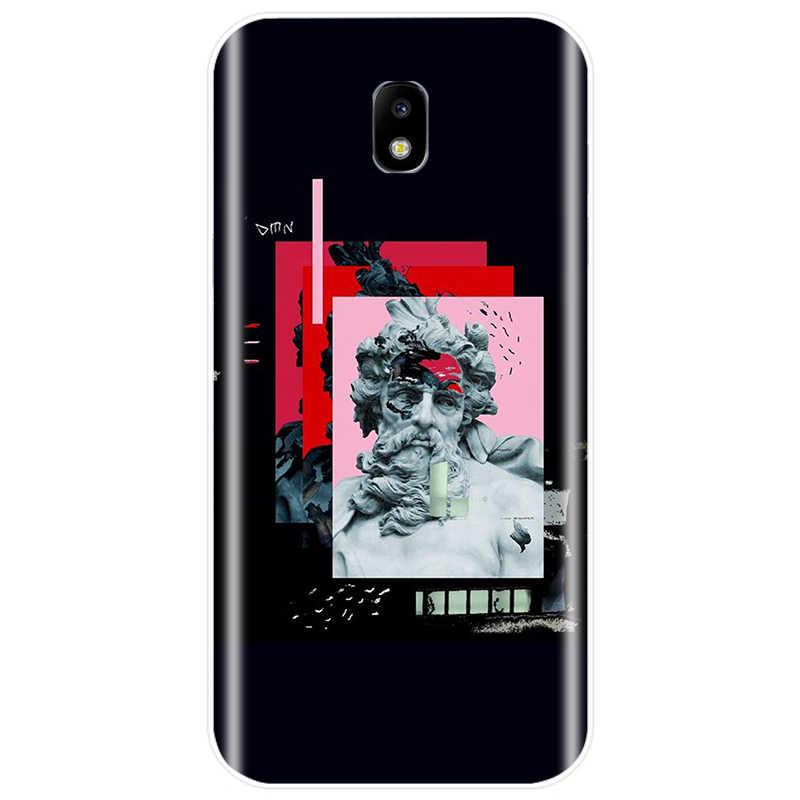 Ilginç vintage taş oyma telefon kılıfı Samsung J3 J4 J5 J6 J7 J8 Plus 2017 2016 2018 J7MAX abd sürümü arka kapak