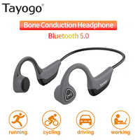 Tayogo S2 Bluetooth 5.0 Wireless Headphones Bone Conduction Earphone Outdoor Sport Sweatproof Headset with Mic Handsfree Headset