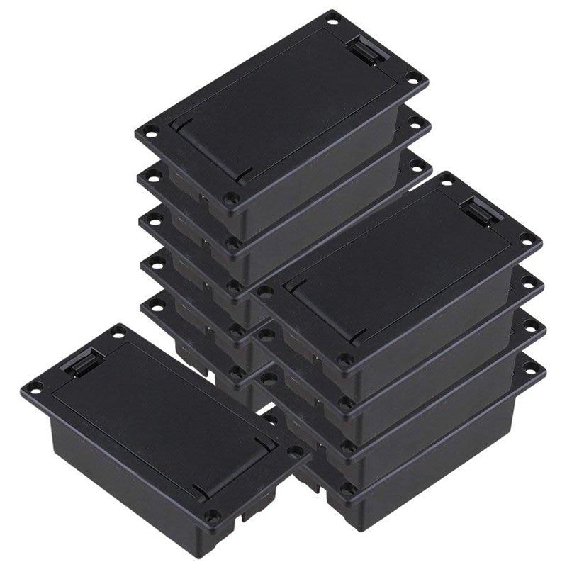 Guitar Bass 9V Battery Holder Compartment Cover Case Black Set of 10