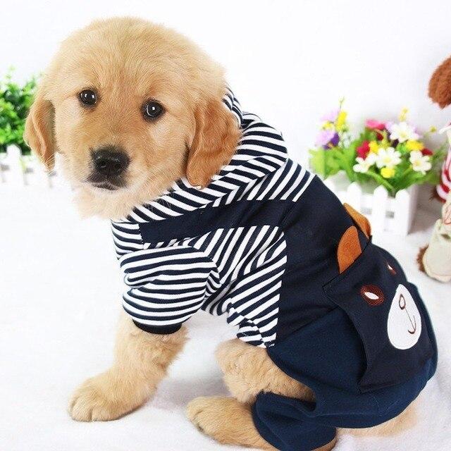 Ropa de Perro a rayas a la moda de PUOUPUOU para perros, Abrigo con capucha, sudadera de invierno, Ropa para perros, Ropa para mascotas de dibujos animados 5
