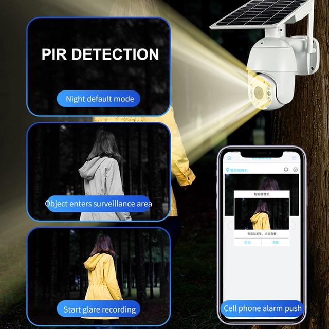 Hebeiros 4G SIM Card WIFI Solar Battery PTZ Camera 1080P Outdoor Waterproof  PIR Alarm Motion detection P2P CCTV CAMERA 3