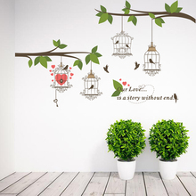 Birdcage Tree Branch Love Wall Stickers Living Room Bedroom Decorations Home Decor Mural Art Decals