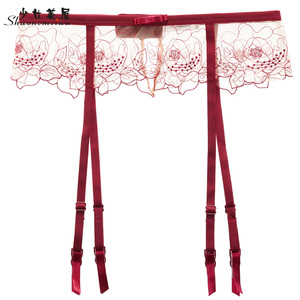 shaonvmeiwu Sexy see-through embroidered garter belt see-through lace garter socks appeal to ladies