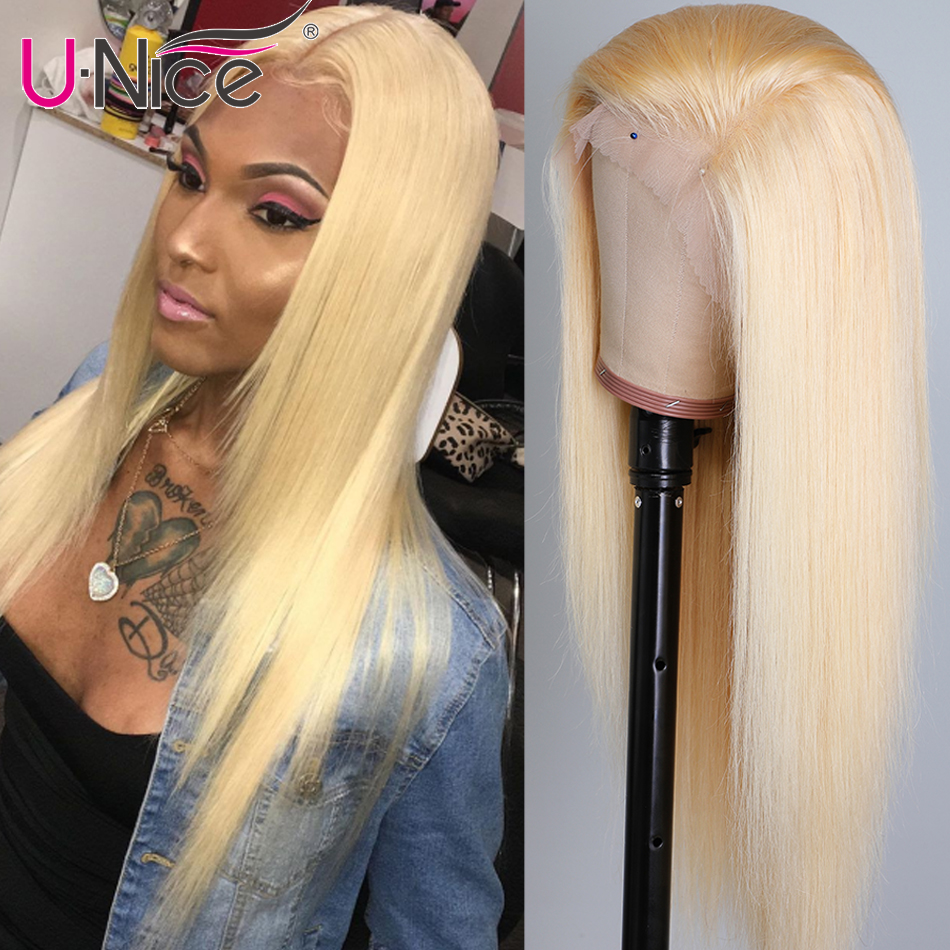 Unice Hair Transparent Full Lace Front Wigs 14-22 Inch Brazilian Straight Hair Wigs Pre Plucked  Human Hair Wigs