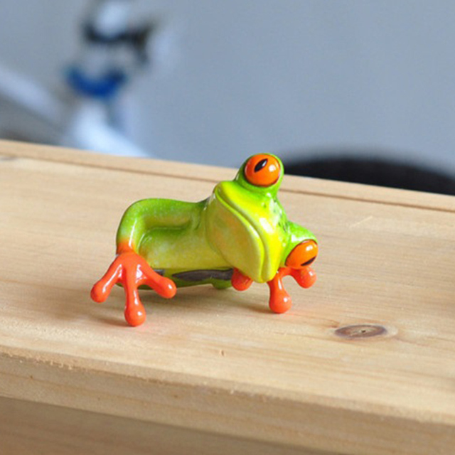 Creative 3D Craft Frog Figurine Decoration Ornament Statue Home Garden Decor Desk Table Shelf Figurines Kids Toys Gift 3