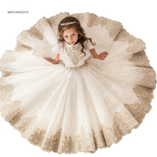 Communion-Dresses Flower-Girls Champagne Lace Party Weddings White Kids First And
