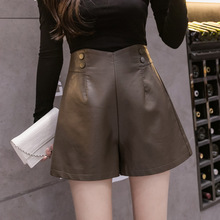 Autumn and winter new style washed leather loose and thin A-line leather pants, high-waist casual wide-leg shorts women pants