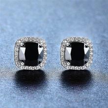 Feminino bonito cristal preto pedra brincos charme prata cor do parafuso prisioneiro brincos de casamento quadrado luxo para mulher
