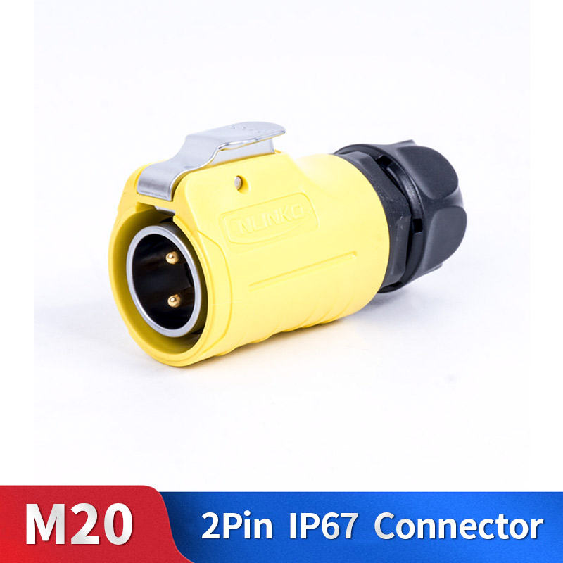 M20 2 Pin Waterproof Connector Kit Metal Shell Male and Female Industrial Outdoor Lighting Cable Plug and Socket|Connectors| |  - title=
