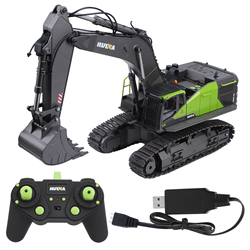 HUINA 1593 1/14 RC Excavator RC Truck Excavator Construction Tractor Metal Shovel Kids Toy with Lights & Sounds