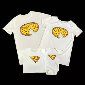 Summer Parent-child Clothing Children's Clothing Cute Pizza Family Clothing Round Neck Short Sleeve T-shirt Climbing Suit