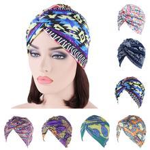 Etniczne indie Turban elastyczny bawełniany Chemo rak czapka kobiety węzeł krzyż czapka Bonnet kapelusz muzułmańska chustka na głowę nosić utrata włosów okładka