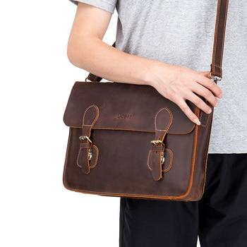 LAOSHIZI LUOSEN Vintage Briefcase Large Capacity Genuine Leather Messenger Bag Crazy Horse Leather Bag