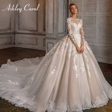 Ashley Carol Prinses Trouwjurk 2020 Lange Mouwen Romantische Kralen 3D Bloemen Applicaties A lijn Bruid Toga Vestido De Novia