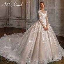 Ashley Carol ślub księżniczki sukienka 2020 z długim rękawem romantyczny zroszony 3D kwiaty aplikacje linia Bride suknie Vestido De Novia