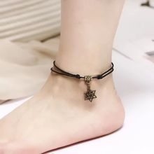 Bracelet Anklet Jewelry Black Women for Gift Sandals-Accessories Wax-Rope Charm Foot-Chain