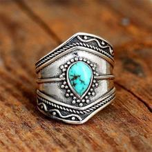 Retro kreatywny w kształcie kropli Turquoises pierścień czeski nieregularny pierścień kobiet przyjęcie świąteczne biżuteria prezent tanie tanio CN (pochodzenie) Ze stopu cynku Kobiety Kamień półszlachetny Pierścień pokazowy GEOMETRIC Zgodna ze wszystkimi Decoration