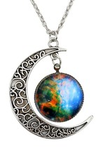 Women Galactic Glass Cabochon Pendant Crescent Moon Necklace(Color numbers:2519)(China)