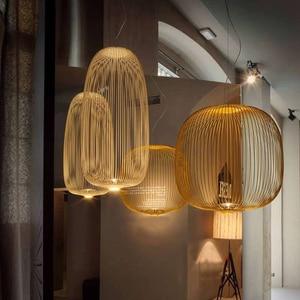 Image 1 - Remote Foscarini Spokes 1/2 Pendant Lights Modern LED Hanglamp LOFT Industrial Bird Cage lustre Suspension Fixtures Dining Decor
