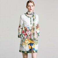 VERDEJULIAY Ruwnay/пальто с принтом 2020, осенне-зимнее Новое модное длинное пальто высокого качества с длинными рукавами и цветочным принтом, украшен...