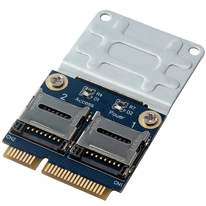 2 SSD HDD For Laptop Dual Micro- SD SDHC SDXC TF To Mini PCIe Memory Card Reader MPCIe To 2 Mini-Sdcards Mini Pci-E Adapter