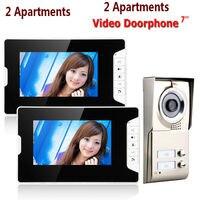 7inch LCD 2 Apartments Video Door Phone Intercom System IR CUT HD 1000TVL Camera Doorbell Camera with 2 button 2 Monitor